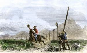Pony Express Rider Passing Workers Raising Telegraph Poles, 1860s