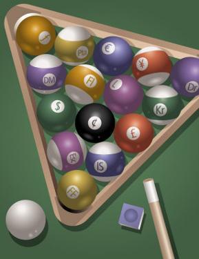 Pool Rack with International Money Symbols, Grouped Elements