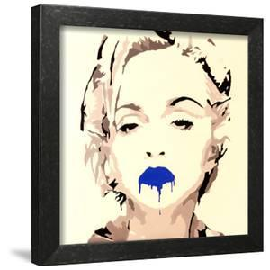 Madonna Pop Art Blue Lips by Pop Art Queen