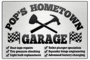 Pop's Hometown Garage Automotive Plastic Sign