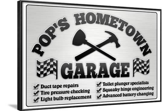 Pop's Hometown Garage Automotive Print Poster--Framed Poster