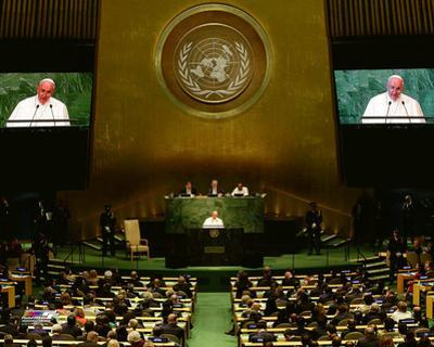 Pope Francis addresses the 70th session of the United Nations General Assembly, Friday, September 2