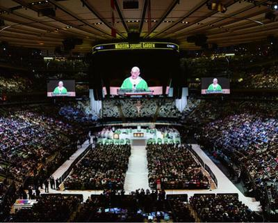 Pope Francis reads his homily while celebrating high Mass at Madison Square Garden, Friday, Septemb