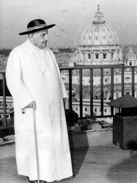 Pope John XXIII on the Terrace of a IX-Century Tower in the Vatican Gardens April 15, 1963