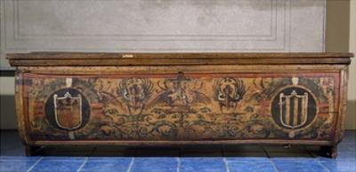 Poplar Wood Wedding Chest Painted with Coats of Arms, Italy, 16th Century