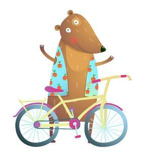 Baby Teddy Bear Character with Bicycle Cute Sport Cartoon for Kids. Bear Cub Cute Colorful Sporty A by Popmarleo