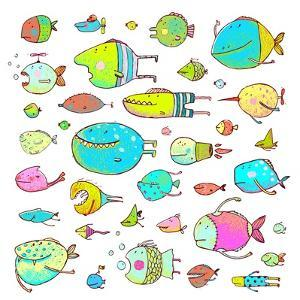 Cartoon Bizarre Fish Collection for Kids Hand Drawn. Fun Cartoon Hand Drawn Queer Fish for Children by Popmarleo