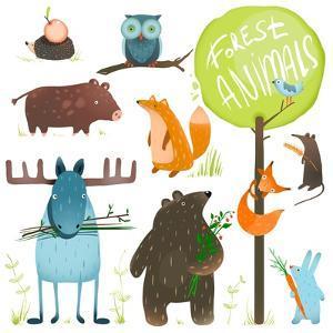Cartoon Forest Animals Set. Brightly Colored Childish Animals. Vector Illustration Eps8. by Popmarleo