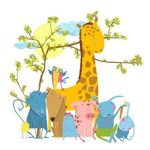 Cartoon Zoo Friends Animals Group. Funny Zoo and Farm Animals Sitting Together under the Tree. Vect by Popmarleo