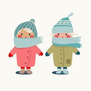 Children in Winter Cloth. Winter Kids Outfit Childish Illustration. Raster Variant. by Popmarleo
