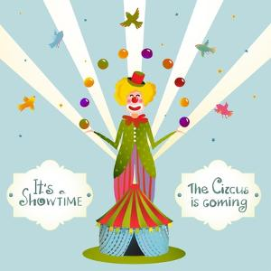 Circus Juggling Clown Carnival Show Vintage Poster. Fun and Cute Fair Performance Vintage Cartoon C by Popmarleo