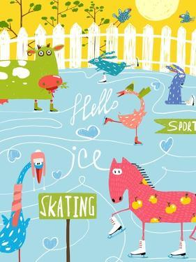 Colorful Fun Cartoon Farm Ice Skating Animals for Kids. Countryside Amusing Skating Baby Animals Il by Popmarleo