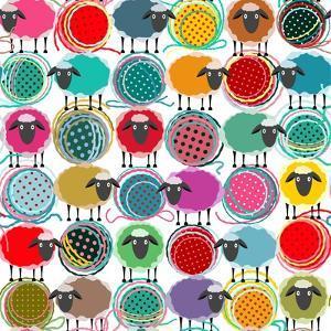 Colorful Seamless Sheep and Yarn Balls Pattern. Seamless Sheep Pattern. Vector Eps10. No Effects Us by Popmarleo