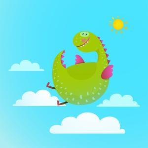 Dragon Flying in Sky Colorful Cartoon for Kids. Dragon Flying Fun Cute Cartoon with Clouds and Sun by Popmarleo