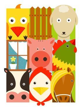 Flat Childish Rectangular Cattle Farm Animals Set. Animals Design Collection. Vector Layered Eps8 I by Popmarleo