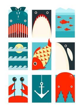 Flat Sea and Fish Rectangular Nautical Set. Marine Design Collection. Vector Layered Eps8 Illustrat by Popmarleo