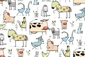 Funny Cartoon Village Domestic Animals Seamless Pattern Background for Kids. Countryside Cottage An by Popmarleo
