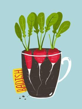 Growing Radish with Green Leafy Top in Pot. Root Vegetable Container Gardening Illustration. Layere by Popmarleo