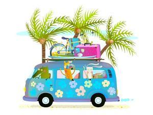 Holiday Summer Bus with Beach Tropical Vacation Tourists Baby Animals and Palms. Touristic Holidays by Popmarleo