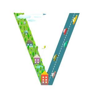 Kids Letter V Sign Cartoon Alphabet with Cars and Houses. for Children Boys and Girls with City, Ho by Popmarleo