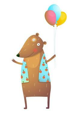 Kids Teddy Bear with Balloons Colorful Cartoon. Happy Fun Watercolor Style Animal Congratulation Fo by Popmarleo
