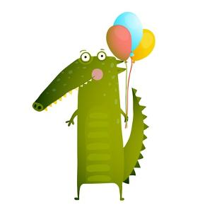 Kids Watercolor Style Crocodile with Balloons Colorful Cartoon. Happy Fun Watercolor Style Animal C by Popmarleo