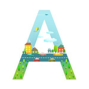 Letter A of the Latin Alphabet for Children. Fun Alphabet Letter for Boys and Girls with City, Hous by Popmarleo