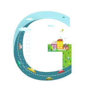 Letter G of the Latin Alphabet Funny Cartoon ABC for Children. for Children Boys and Girls with Cit by Popmarleo