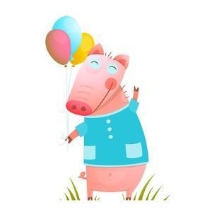 Little Adorable Baby Pig with Balloons for Kids. Pig Congratulating with Balloons on Grass Humorous by Popmarleo