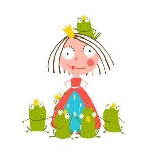 Princess and Many Prince Frogs Portrait Colored Drawing. Colorful Fun Childish Hand Drawn Illustrat by Popmarleo