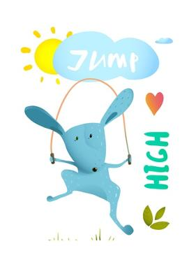 Rabbit Jumping Rope for Kids. Hare Jumping High Skipping Animal Cartoon Watercolor Style, Vector Il by Popmarleo