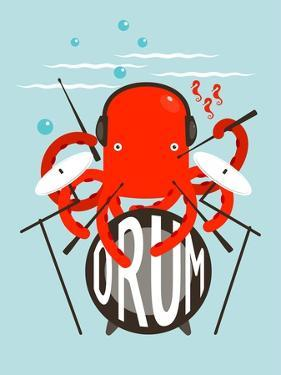 Red Octopus Playing Drums. Underwater Devil-Fish Drummer. Vector Layered Eps8 Illustration. by Popmarleo