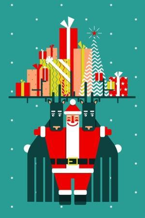 Santa with Deers Gifts and Presents Congratulates. Vector Eps8 Graphic Christmas Illustration. by Popmarleo