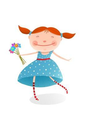 Small Girl with Bouquet of Flowers Wearing Blue Dress. Jolly Child with a Bunch of Flowers. Organic by Popmarleo