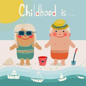 Summer Beach Children Friends Sunbathing. Summer Happy Kids Childish Illustration. Vector Eps8. by Popmarleo