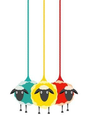 Three Yarn Sheep. Vector Eps10 Graphic Illustration of Three Colored Sheep with Yarn. by Popmarleo