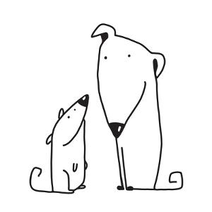 Two Cartoon Brown Dog Parent and Kid. Animal Pet Friend, Drawing Puppy, Breed Doggy, Vector Illustr by Popmarleo