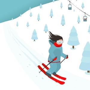 Young Brightly Equipped Girl Slides from Mountain Slope. Happy Woman Skier with Long Black Hair. Ve by Popmarleo