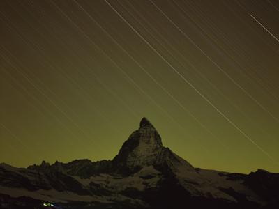 Matterhorn (4,478M) at Night, Long Exposure with Star Trails, Viewed from Gornergrat, Switzerland by Popp-Hackner