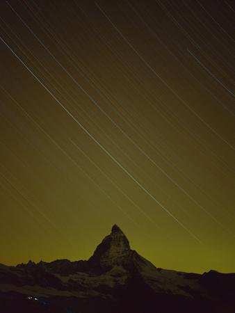 Matterhorn (4,478M) at Night, with Star Trails, from Gornergrat, Wallis, Switzerland, September by Popp-Hackner