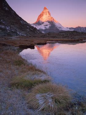 Matterhorn (4,478M) at Sunrise with Reflection in Riffel Lake, Wallis, Switzerland, September 2008 by Popp-Hackner