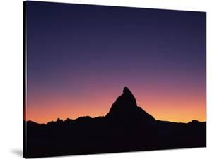 Matterhorn (4,478M) Silhouetted at Sunset, Viewed from Gornergrat, Wallis, Switzerland, September by Popp-Hackner