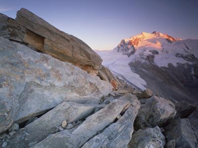 Monte Rosa (4,634M) Viewed from Hohtälligrat, at Sunset, Wallis, Switzerland, September 2008 by Popp-Hackner