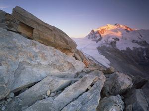 Monte Rosa (4,634M) Viewed from Hohtälligrat, at Sunset, Wallis, Switzerland, September 2008 by Popp-Hackner
