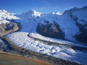 View from Gornergrat to Liskamm and Breithorn Mountains with Boarder Glacier, Switzerland by Popp-Hackner