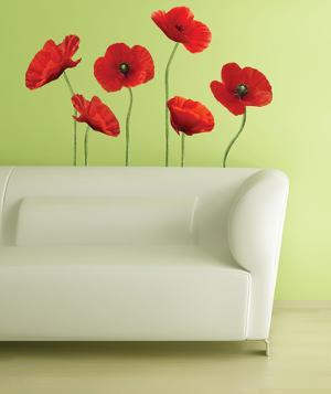 Poppies at Play Peel & Stick Giant Wall Decals
