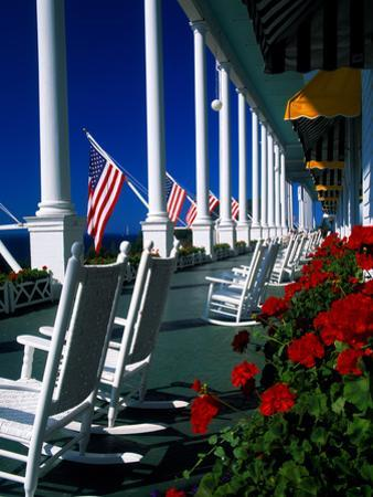Porch of the Grand Hotel, Mackinac Island, Michigan, USA