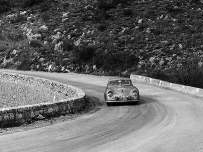 Porsche 356 Taking a Corner in the Monte Carlo Rally, 1954