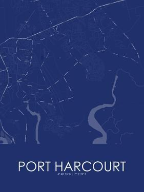 Port Harcourt, Nigeria Blue Map