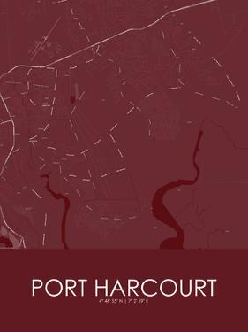 Port Harcourt, Nigeria Red Map
